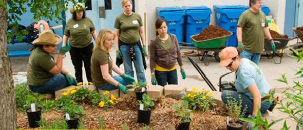 SPE社員の緑化の取り組み。85%の社員が何らかのエコ活動に参加している。